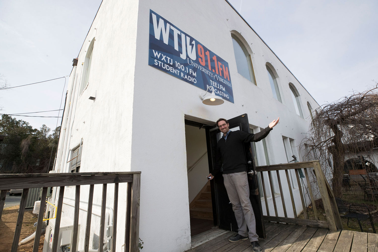 WTJU General Manager Nathan Moore shows off the new Ivy Road studios